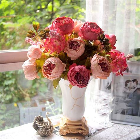 artificial flowers home decor 1 bouquet artificial peony silk flowers leaf home wedding