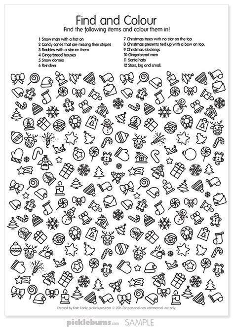 Free Printable Christmas Find and Colour Activity   Picklebums