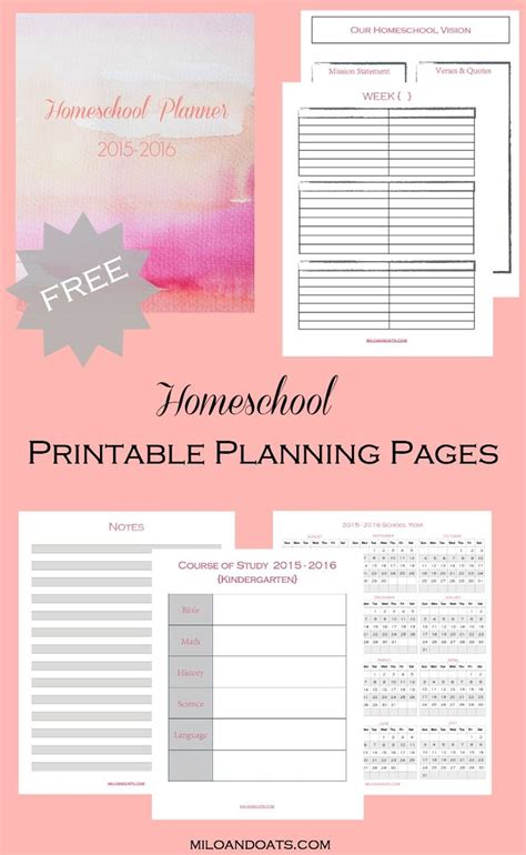 printable lesson plan organizer free 2015 2016 homeschool lesson planner things to