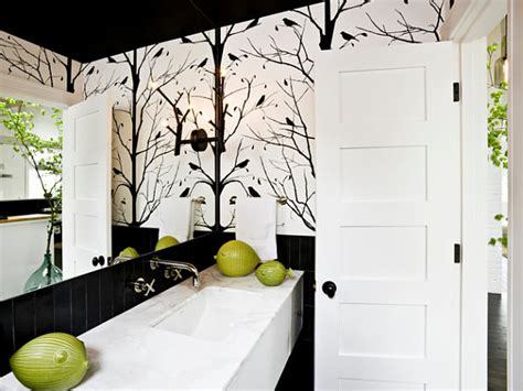 bold black and white bathroom wallpaper decoist