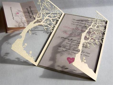 Custom Handmade Wedding Invitations - crafted tree laser cut and handmade wedding