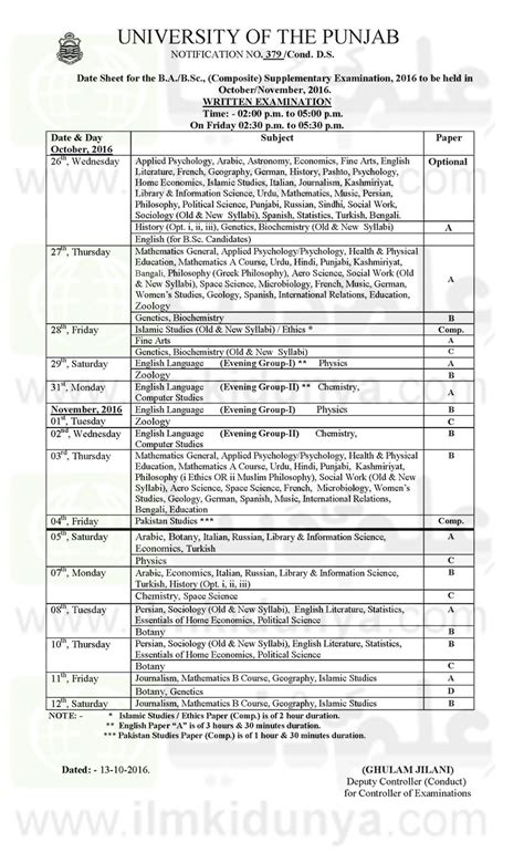 date sheet for day punjab date sheets 2017 of ba bsc b ma msc