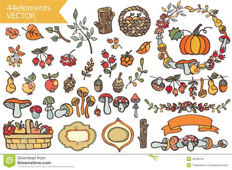 Decor Brushes by Autumn Harvest Doodle Berries Mushrooms Fruits Stock