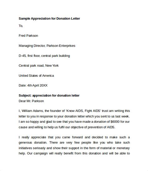 appreciation letter donation sle letters appreciation for donations sle thank