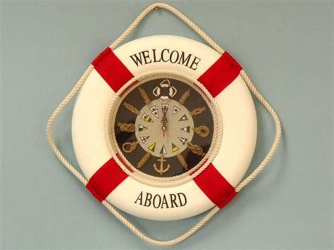clock ring themes buy red life ring wall clock w knot 18 inch nautical