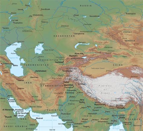 south central asia physical map related pictures southwest and central asia map with