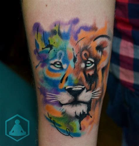 watercolor lion tattoo water paint www imgkid the image kid