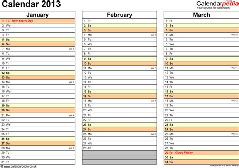 calendar 2013 uk as word templates in 12 different versions