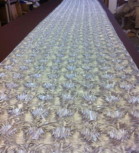 """50 ft Rosette Satin Aisle Runner 54"""" Wide 3D Fabric 22"""