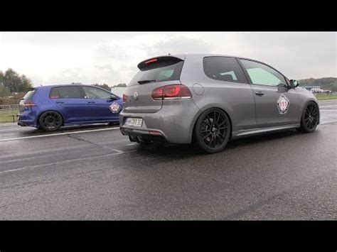 375hp vw golf 7r vs 370hp vw golf 6r drag racing