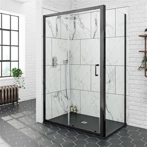 mode black mm sliding shower enclosure  black slate