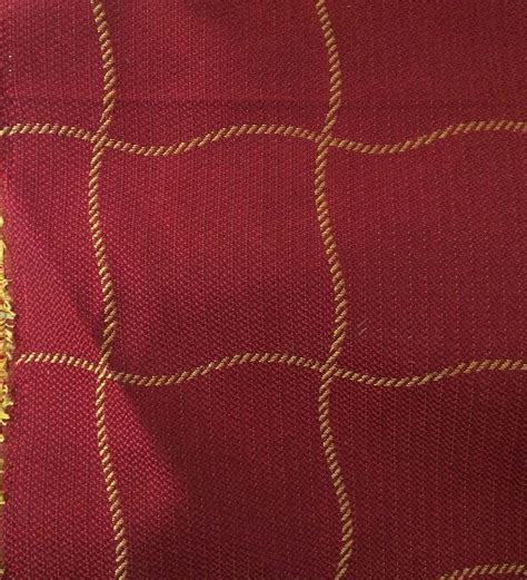quality upholstery fabric 12 yds windowpane red gold professional quality upholstery