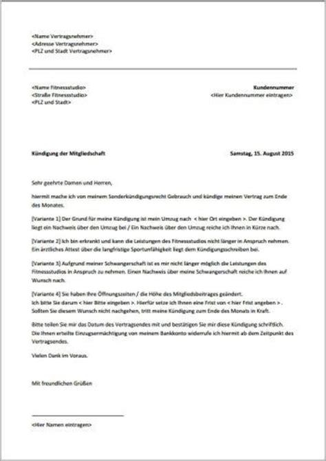 Musterbrief Adressänderung Wegen Umzug K 252 Ndigungsschreiben Fitnessstudio Fristlos Xobbu K 252 Ndigung Vorlage Vorlagen Checklisten