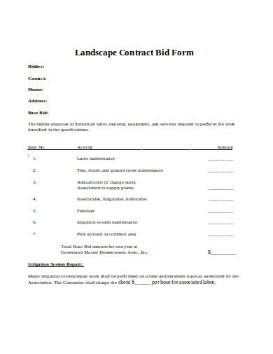 landscaping bid examples templates google