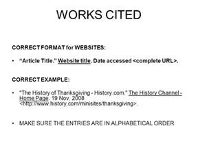 works cited correct format for websites ppt video