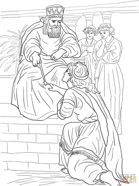 esther before king ahasuerus coloring page free