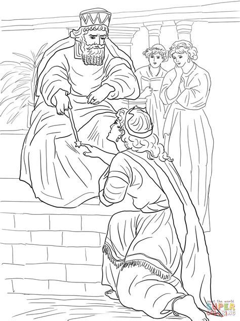 esther before king ahasuerus coloring online super coloring