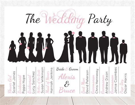 items similar to wedding party bridal party silhouette