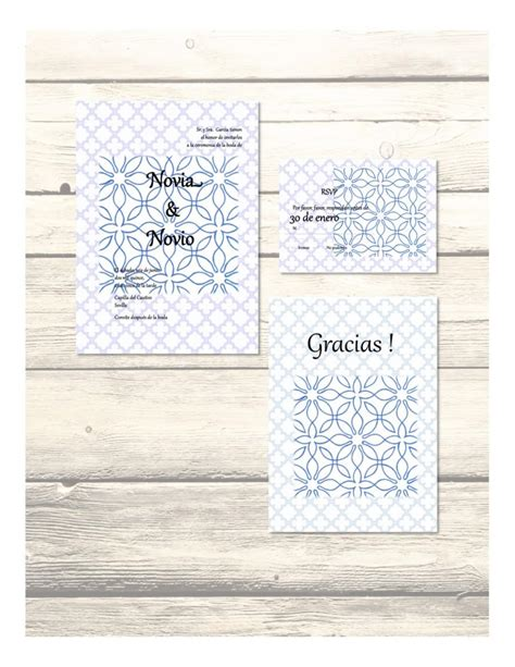 printable thank you cards in spanish set of blue al andalus wedding invitation rsvp thank