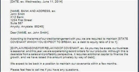Loan Covenant Letter Every Bit Of Bank Request Letter For Relaxation In Loan Terms