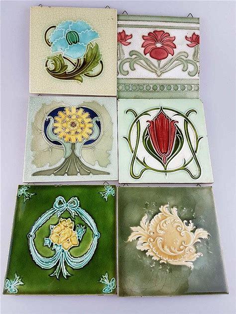 len jugendstil 6 jugendstil kacheln keramik mit floralen motiven glasur