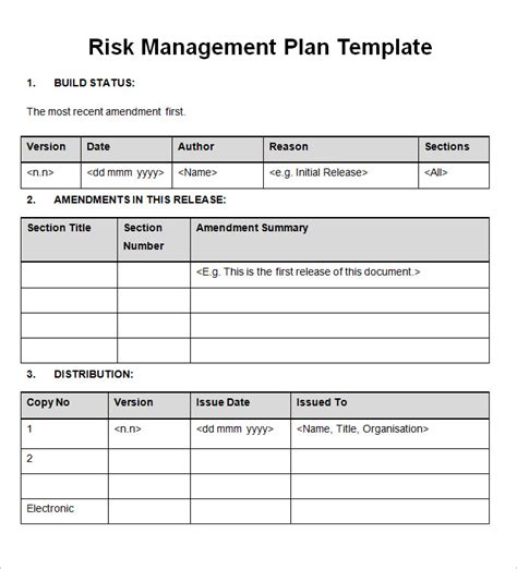 Management Plan Templates Free risk management plan free word documents free