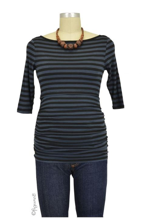 Baju Stripe Blouse Es baju 3 4 sleeve boatneck nursing top in charcoal black stripe