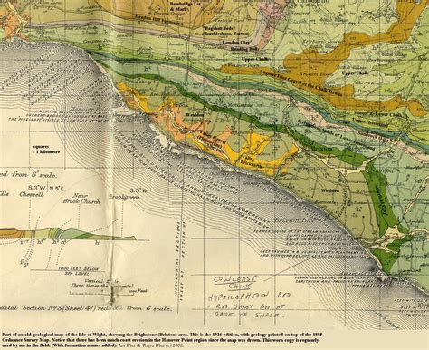 map of the valley isle 9th edition reference isle of wight brighstone bay and compton bay geological