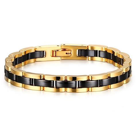 Bracelet femme ceramique noire magnetique plaque or   BijouxStore   webid:589