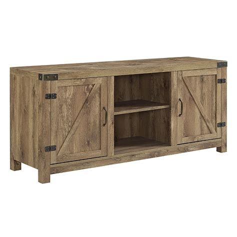 barn door tv cabinet 58 quot barn door tv stand with side doors barnwood
