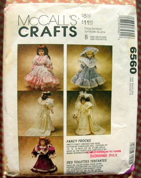 porcelain doll dress patterns porcelain doll clothes mccalls sewing pattern 6560