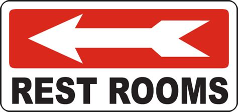 arrow bathroom products rest rooms left arrow sign by safetysign com d5741