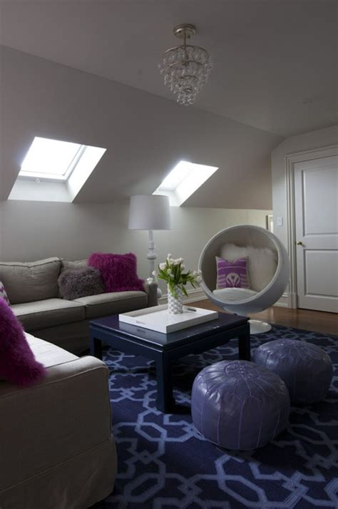 gray  purple family room contemporary living room nightingale design