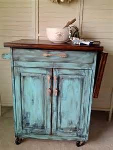 kitchen island rolling teal distressed shabby by