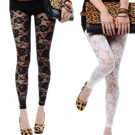 rose pattern lace leggings new sexy women lady rose lace through footless tights