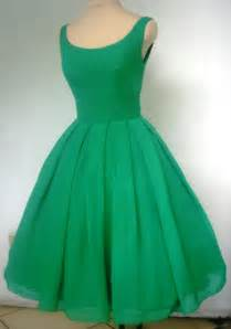 50s style gown tea length dress in green chiffon