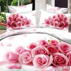 Bedding Sets Roses Fresh White Bedding Set With Bouquet Of Pink Roses 3d Bed