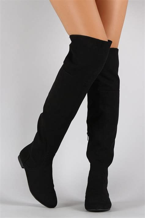 bamboo faux suede zipper collar knee high boot shoes