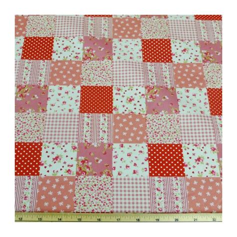 Floral Patchwork Fabric - floral patchwork polka dots 100 cotton poplin fabric
