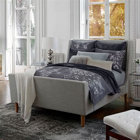 linen sleigh bed upholstered sleigh bed linen weave west elm