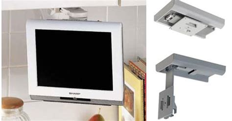 under cabinet tv mount kitchen lcd tv under cabinet mount ideal for the kitchen it elegantly supports your 13 quot or 15 quot lcd tv