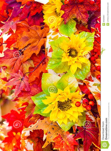 Floral Arrangement Supplies by Autumn Flowers And Leaves Stock Image Image Of Floral