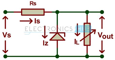 shunt type zener diode voltage regulator zener diode shunt regulator circuit diagram electronics hub