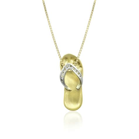 slipper necklace two tone gold slipper pendant with