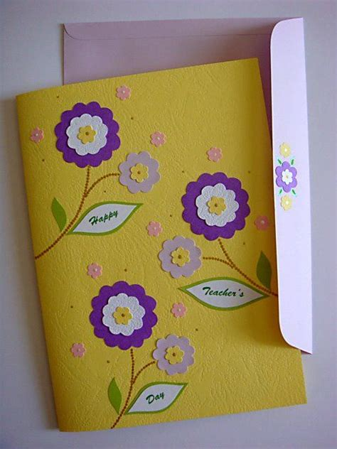 Handmade Teachers Day Card - handmade greetings card s day pop up flowers