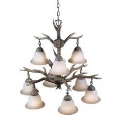 Cabin Chandeliers Tiered Rustic Lodge Cabin 9 Light Faux Buckhorn Chandelier Pendant Antlers New Ebay