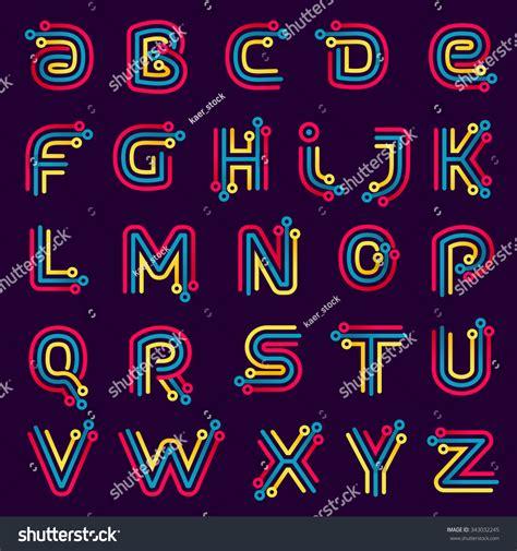 font design application alphabet formed by electric line font stock vector