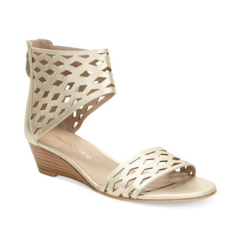 cuff sandals franco sarto union ankle cuff wedge sandals in gold