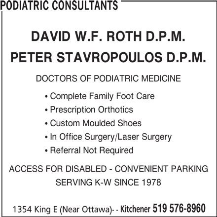Kitchener Podiatrists by Podiatric Consultants 1354 King St E Kitchener On