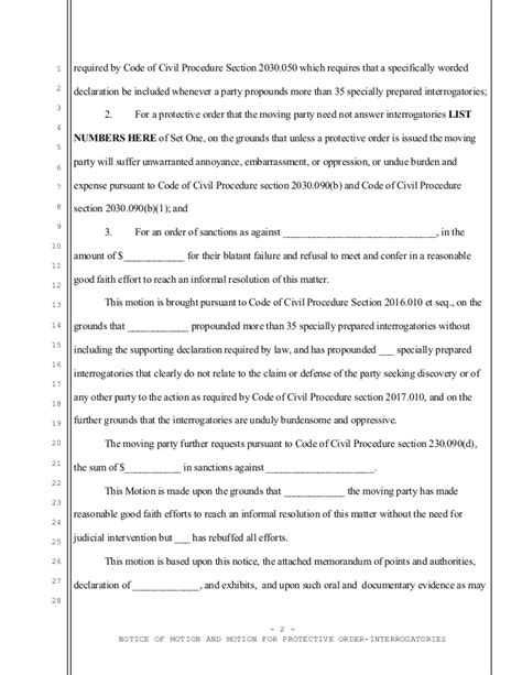 restraining order template sle california motion for protective order regarding